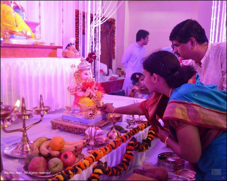 A prana pratisthana puja is performed on the first day of the Utsav