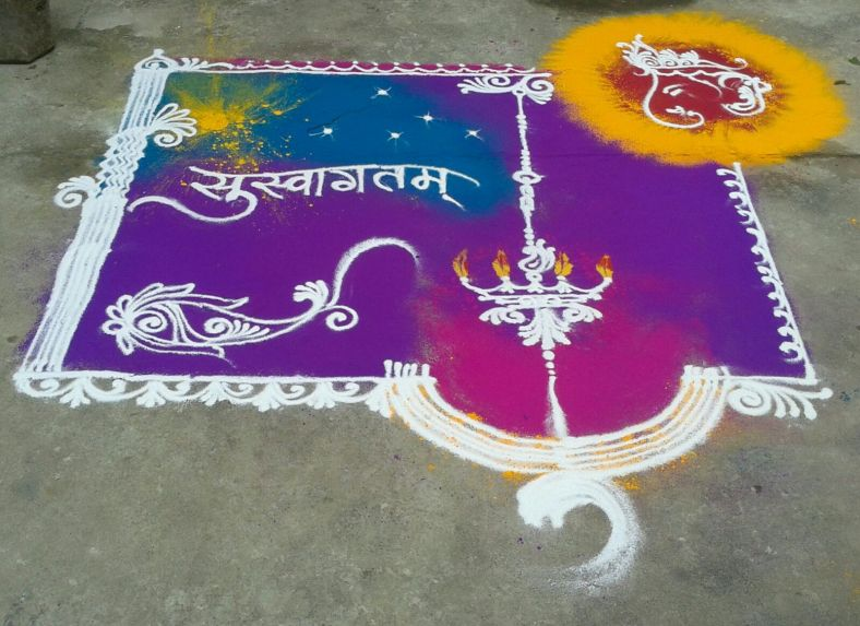 Rangolis are made as a welcoming gesture for Ganapati