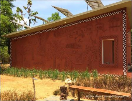 The outer facade of Kanha Museum of Life and Art at Singinawa has minute details for kids to discover