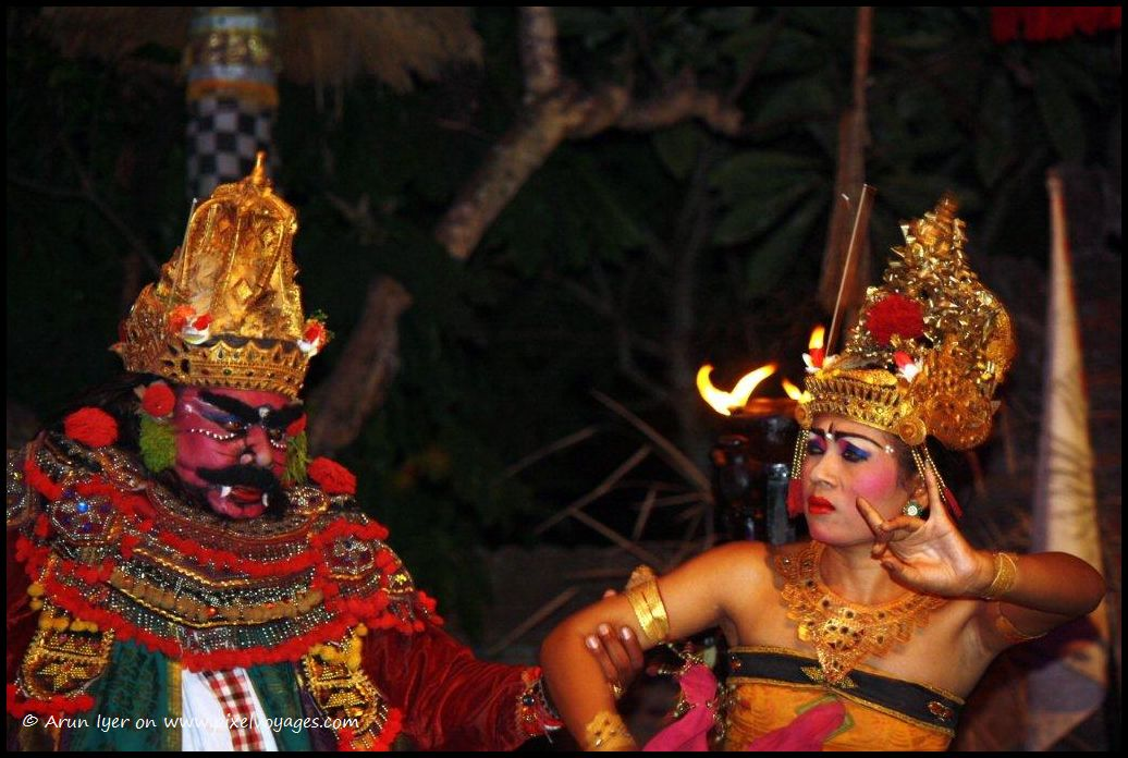 Ravana abducting Sita – A scene from the epic Ramayana enacted in a Kecak Dance