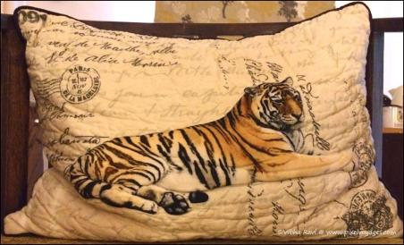 Tiger print cushion covers will keep reminding you of the Kanha tiger safari even years later