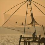 Chinese fishing net Ashtamudi sunrise