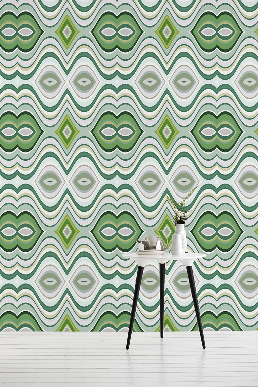 "Tapeta na Rolce ""Zielona Geometria"" - PIXERS"