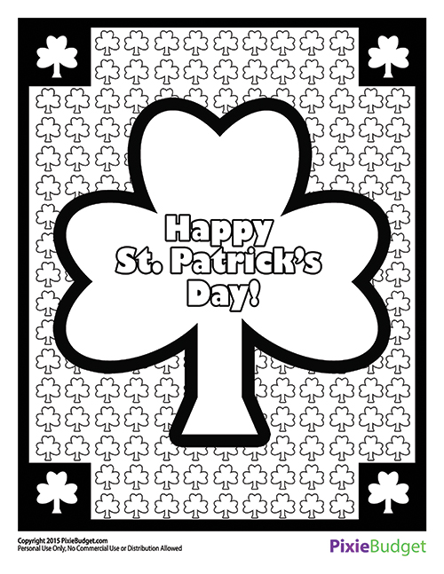 St. Patricks Day Coloring Page - Printable Coloring Sheet - Happy St. Patrick's Day
