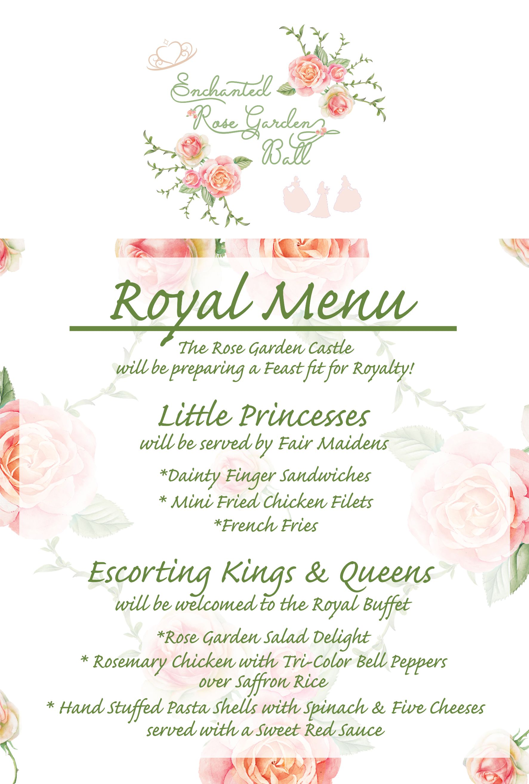 Enchanted Rose Garden Ball Menu