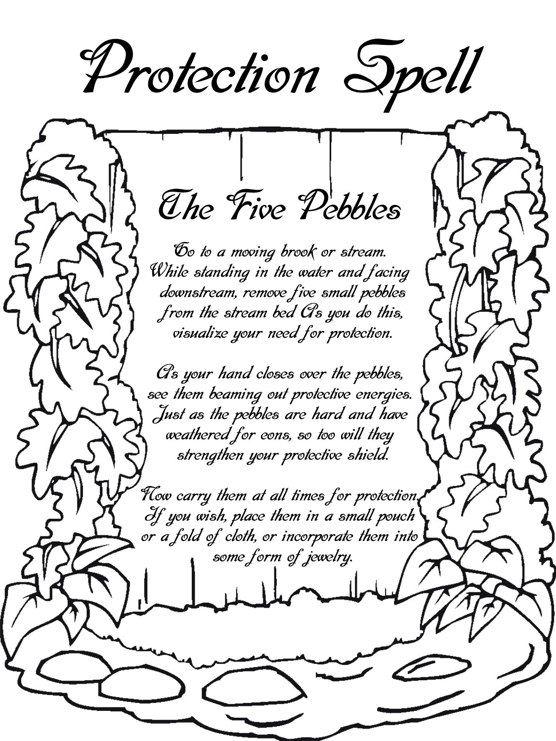 Protection Spell Printable Page Witches Of The Craft