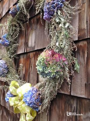 View of Hydrangea & Artemisia wreath. pixieperennials.com