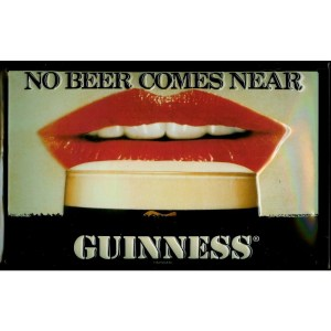 Guinness Red Lips Metal Sign