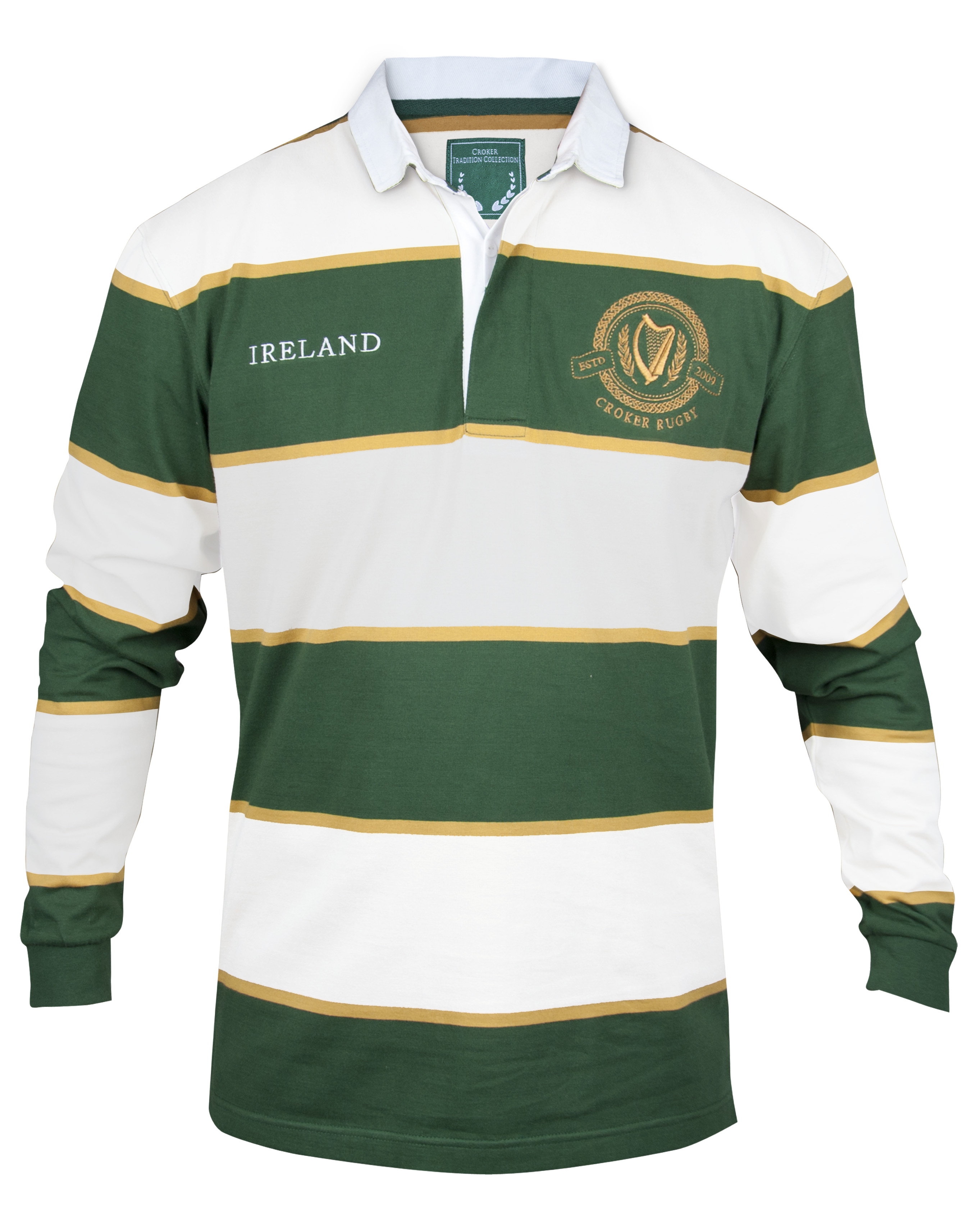 Croker green and white striped rugby jersey pixie for Irish jewelry stores in nj