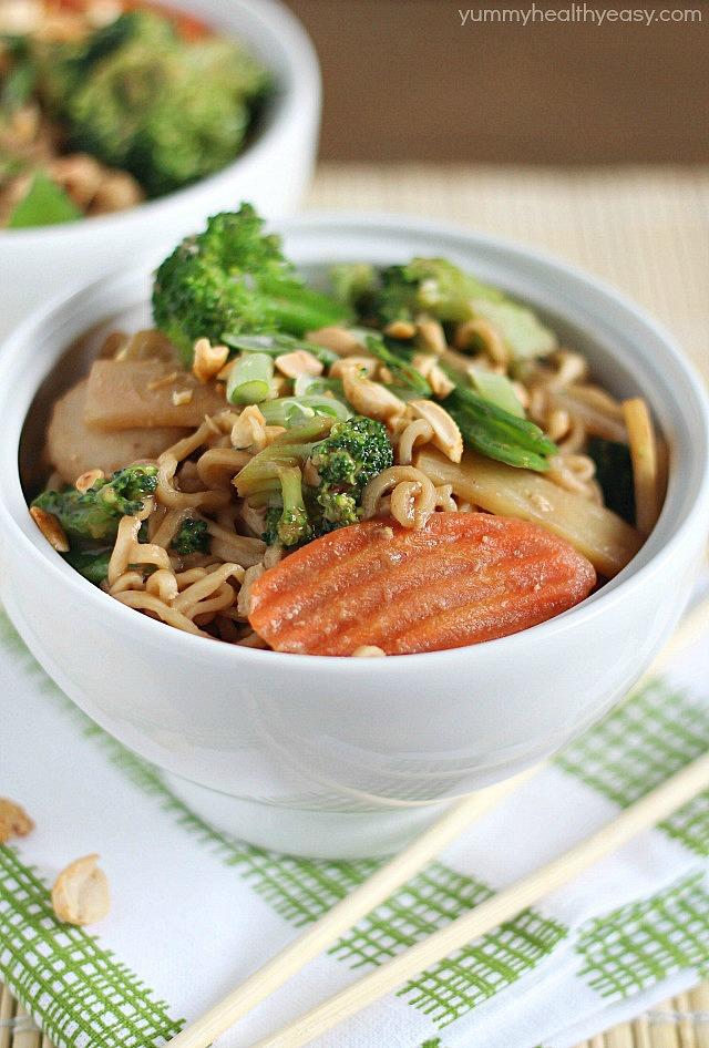 thai chicken ramen noodle bowl
