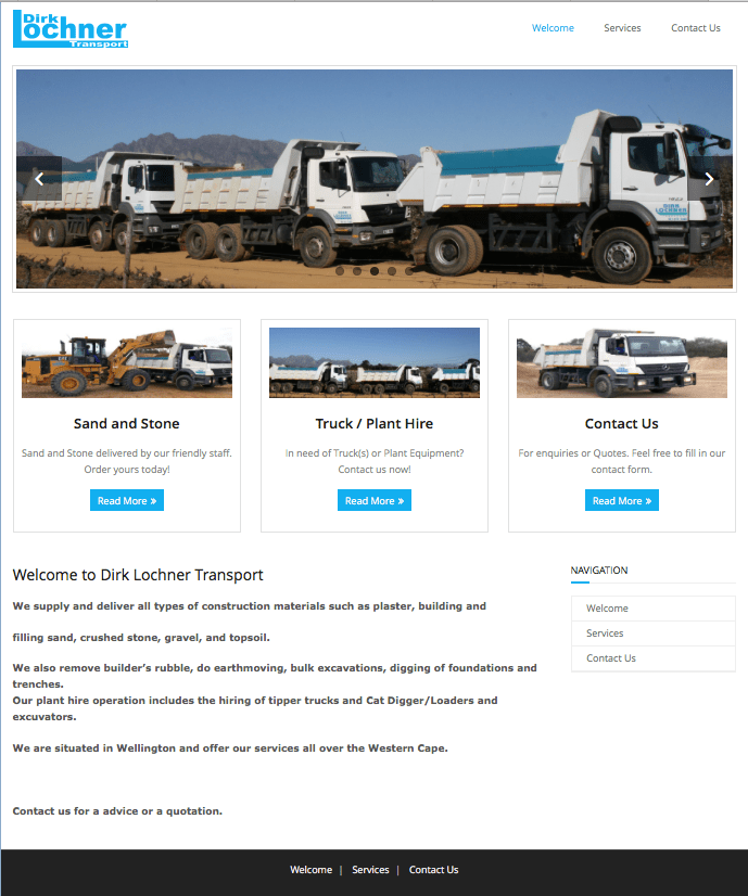 Dirk Lochner Transport Web Design by Pixmar