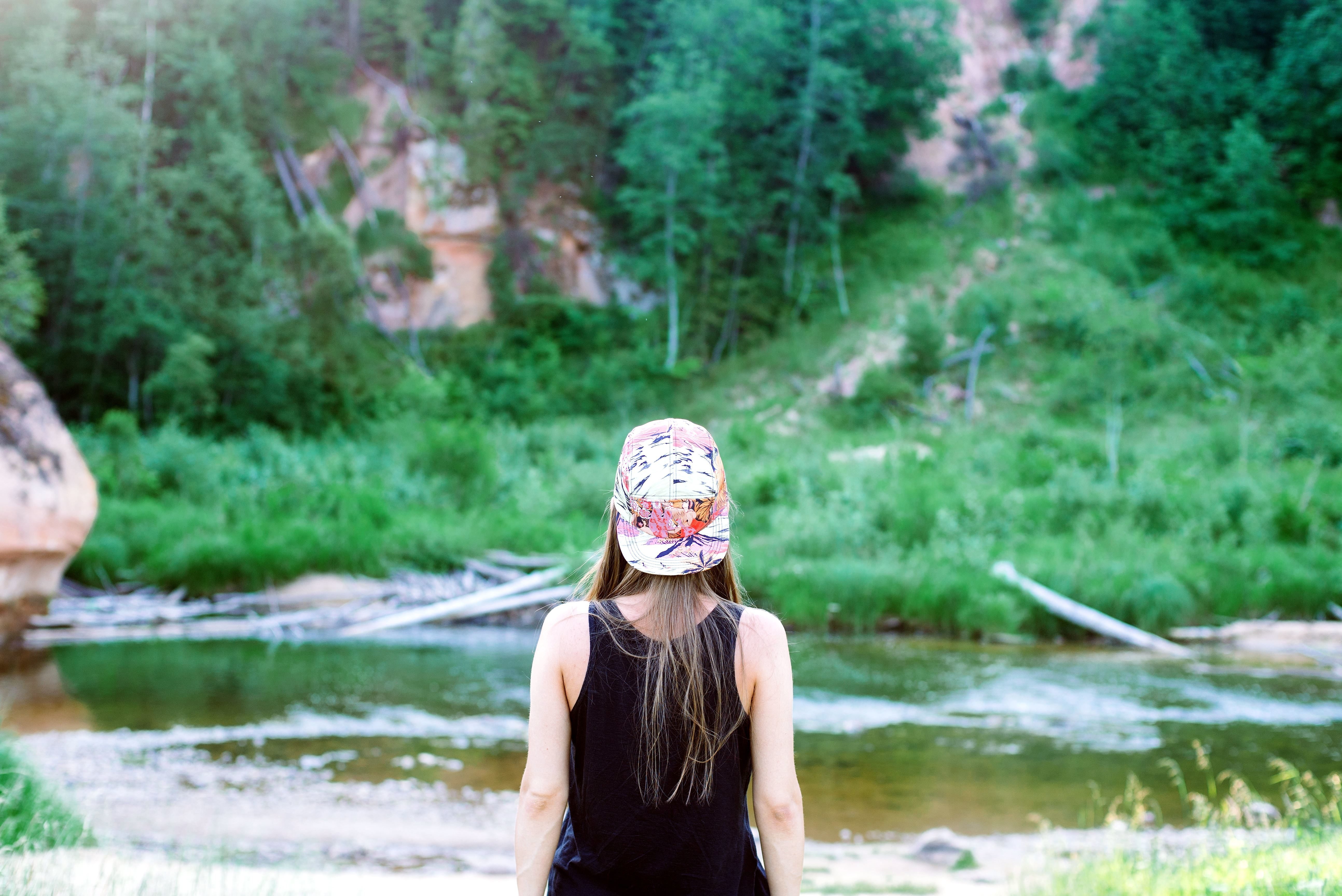 Free Picture Teenage Girl Back Nature River Hat