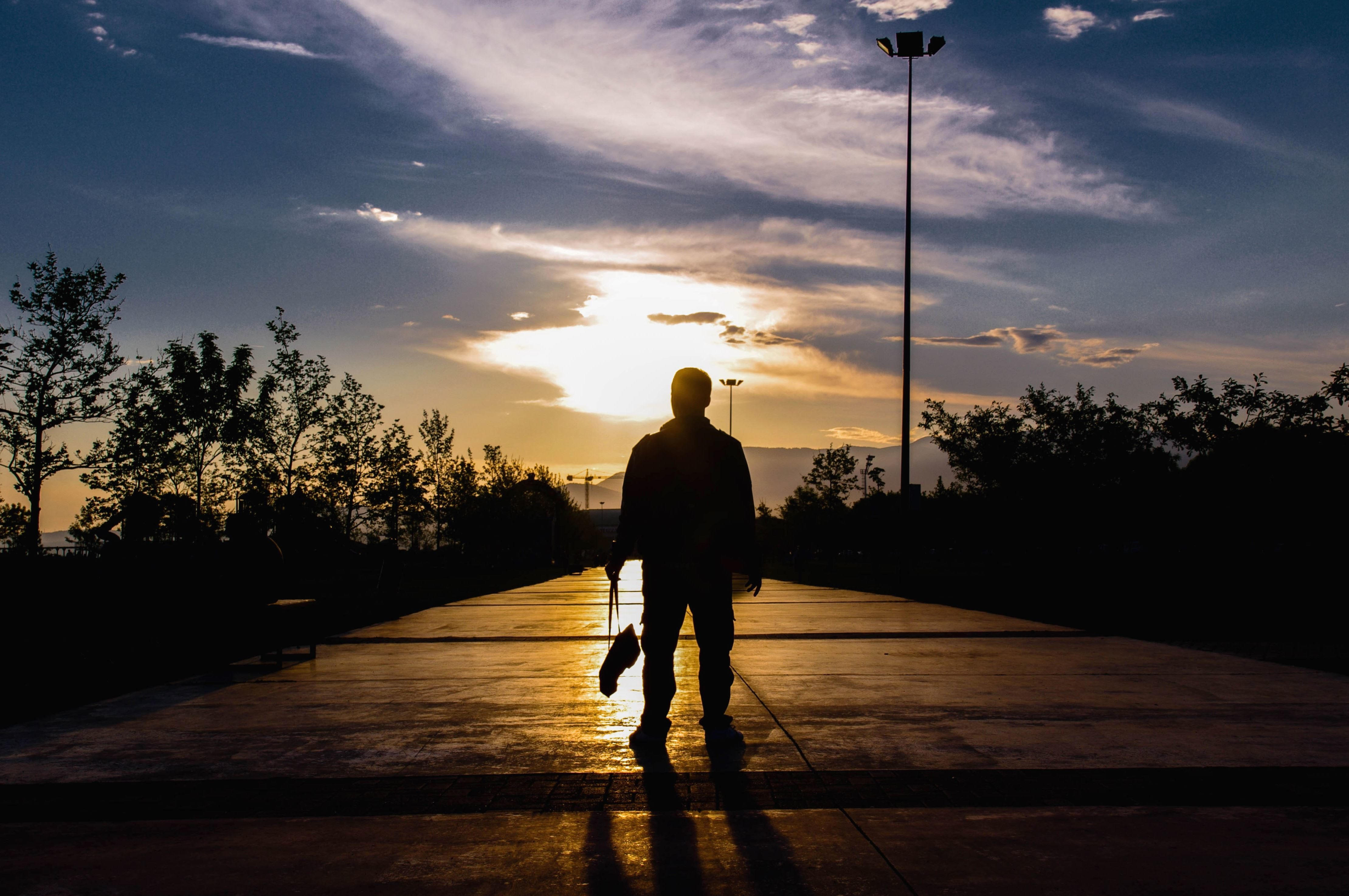 Free Picture Sun Sky Silhouette Sunset Shadow Man