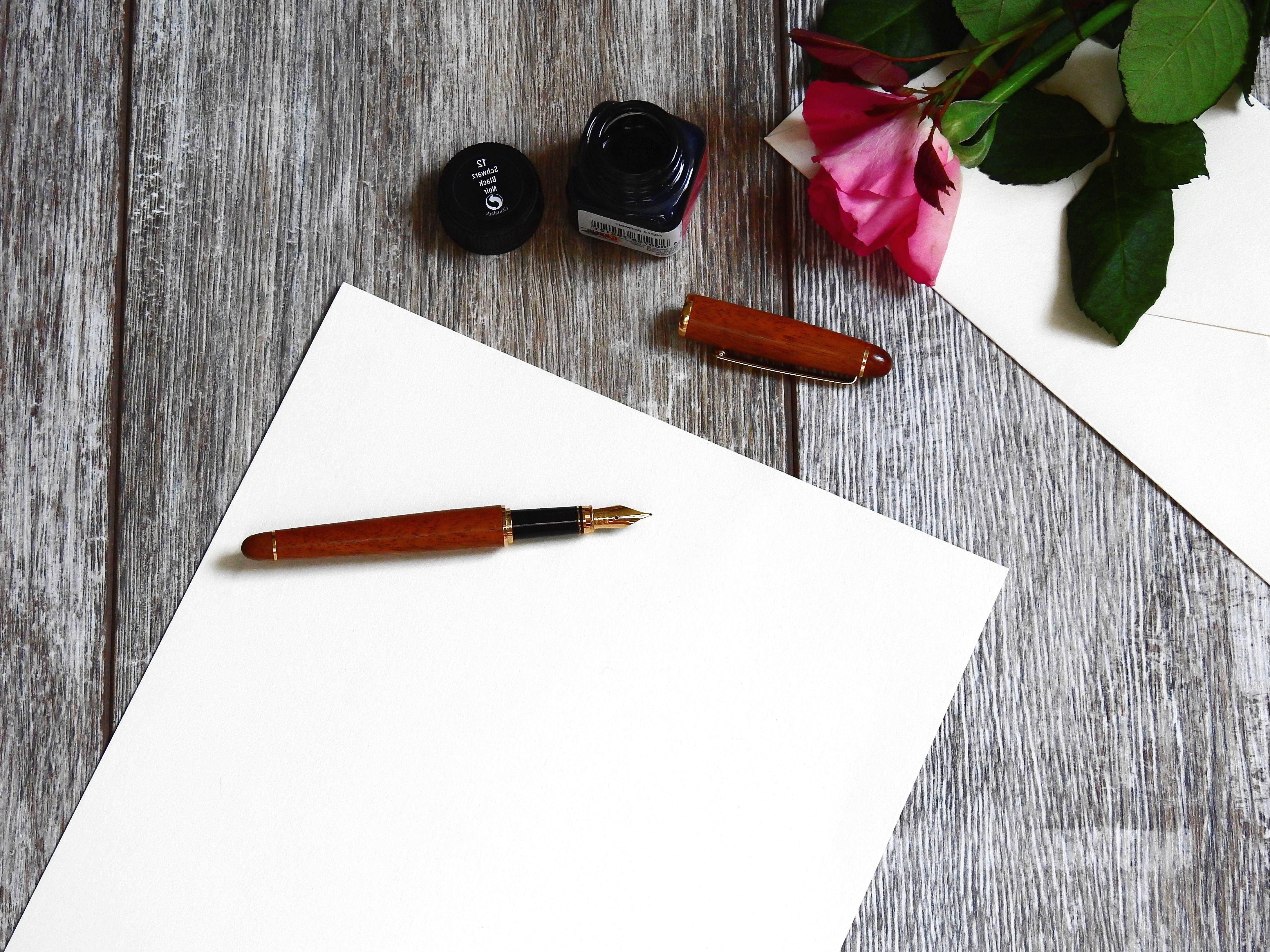 Free Picture Ink Note Paper Pen Romantic Rose Table