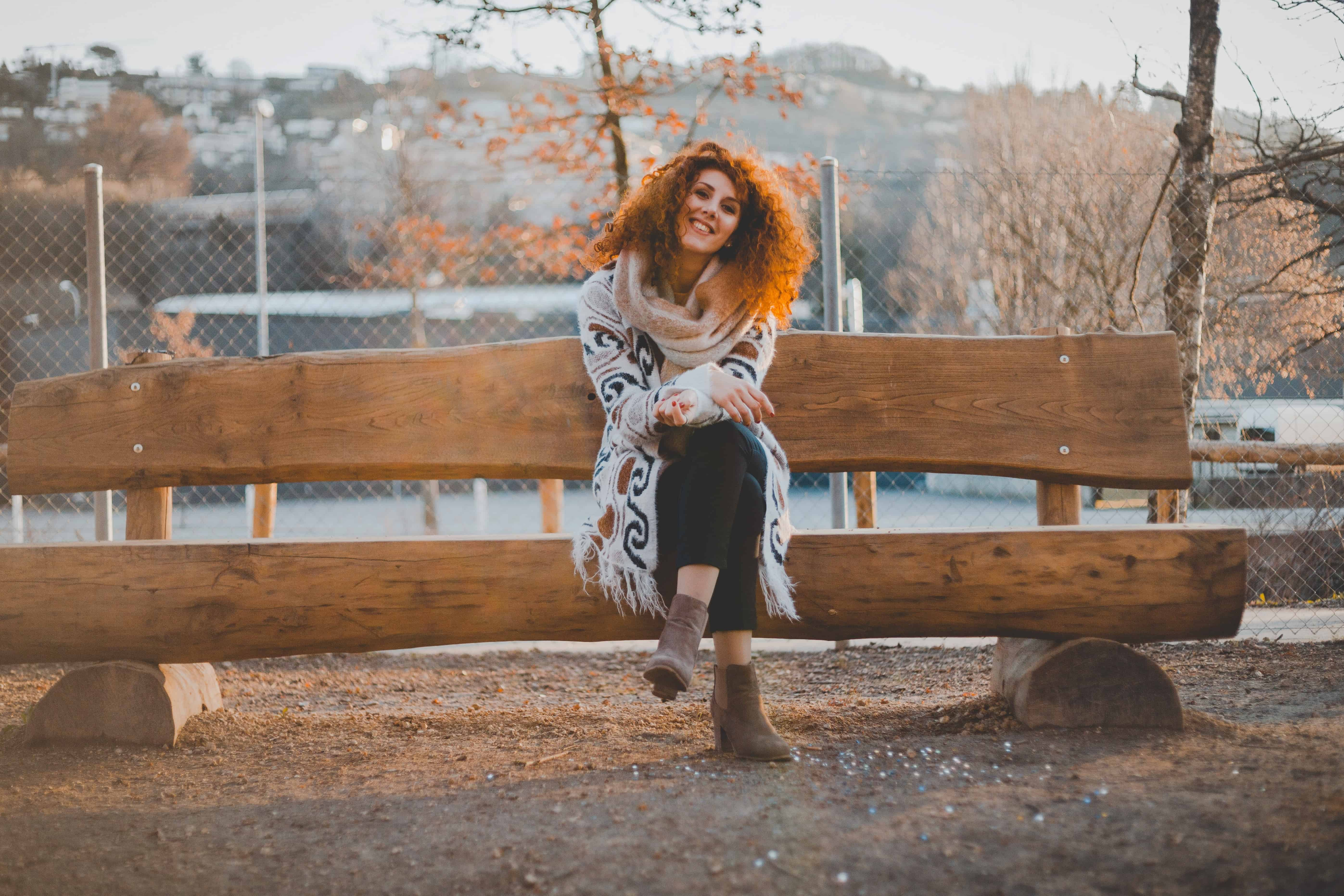 Free Picture Bench Woman Smile Face Autumn