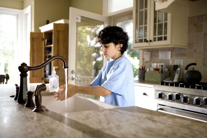 Free Picture Young Boy Shown Process Washing Hands