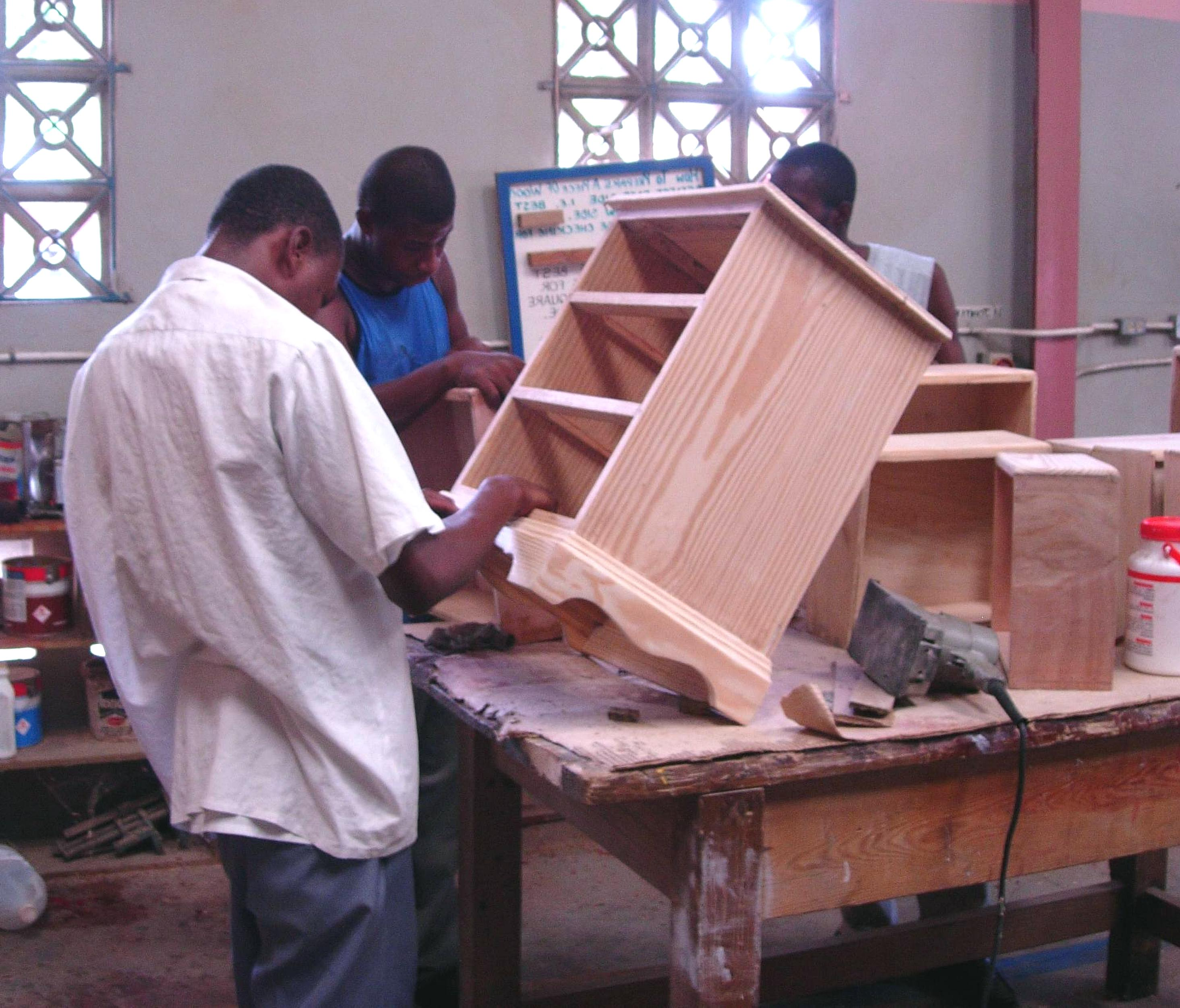 Free Picture Young Men Skills Building Wood Cabinets