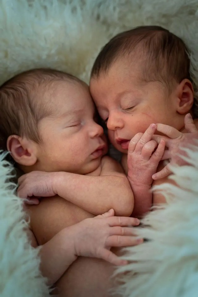 två små babytvillingar ligger bredvid varandra och sover insvepta i filt av fårull