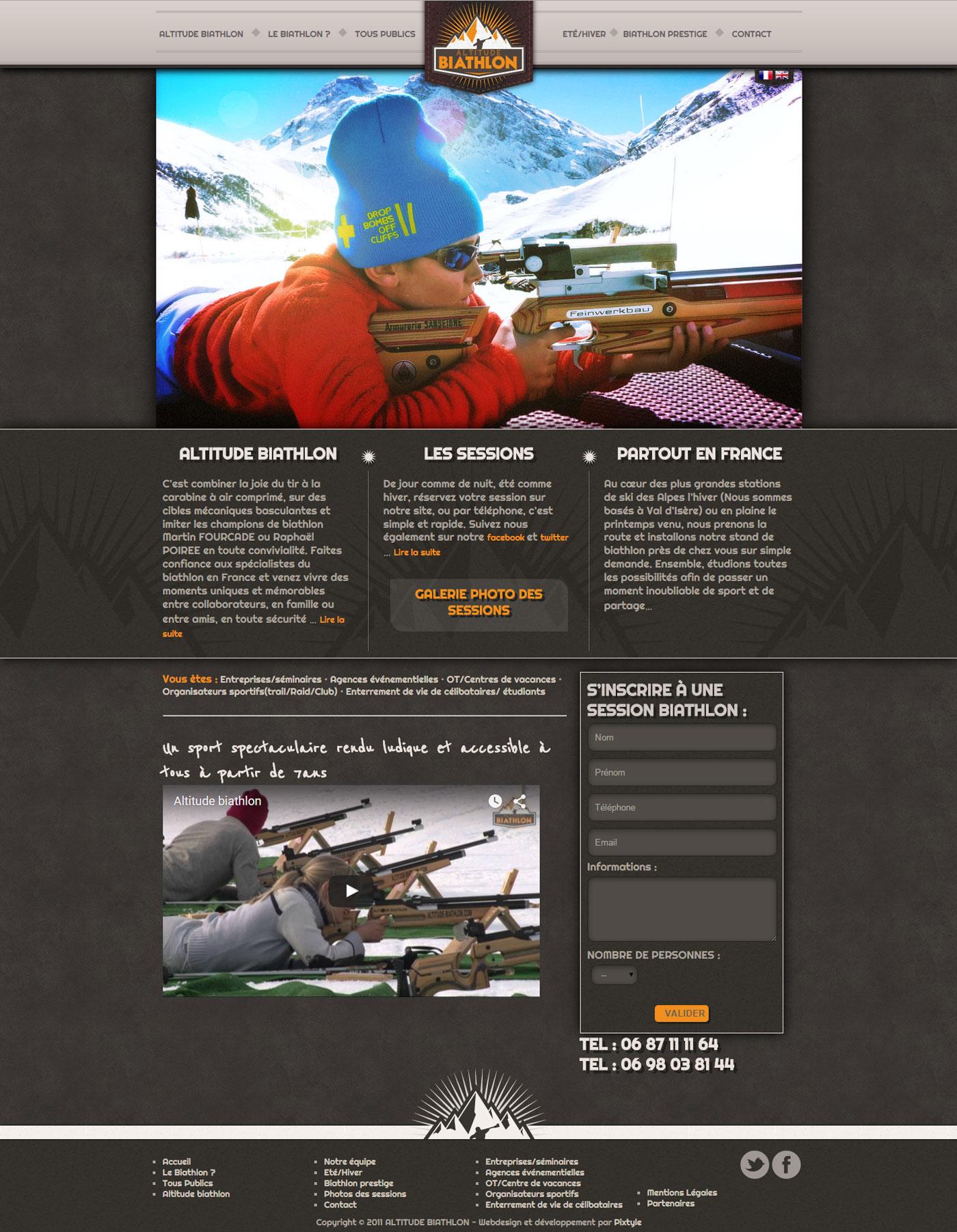 Site internet Altitude Biathlon page d'accueil