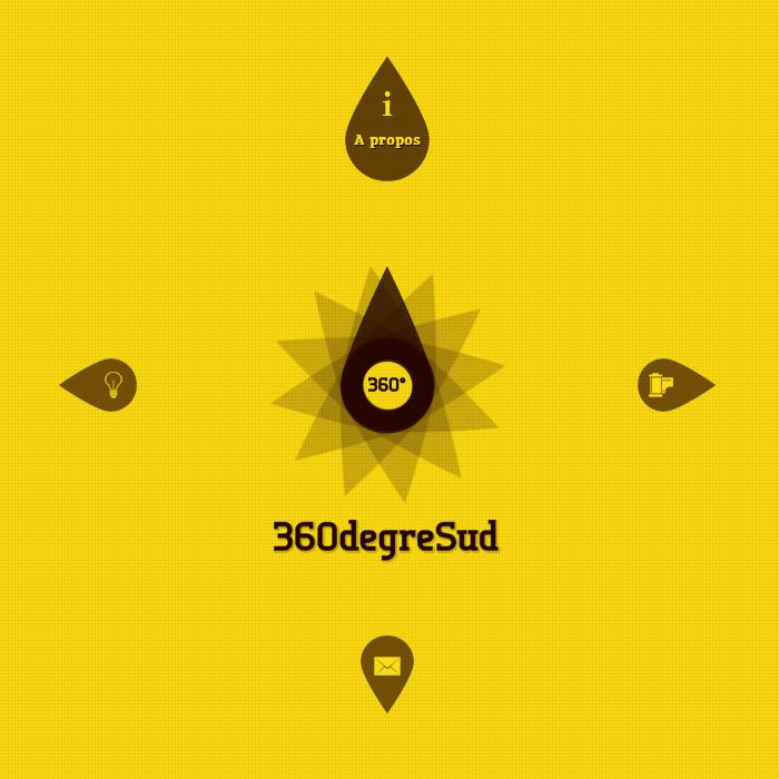 Site internet 360degresud avec animation du logo et interactivité des pages