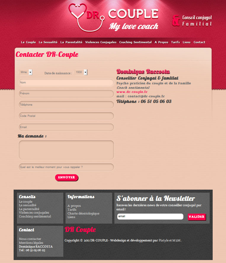 Site internet Dr couple page contact