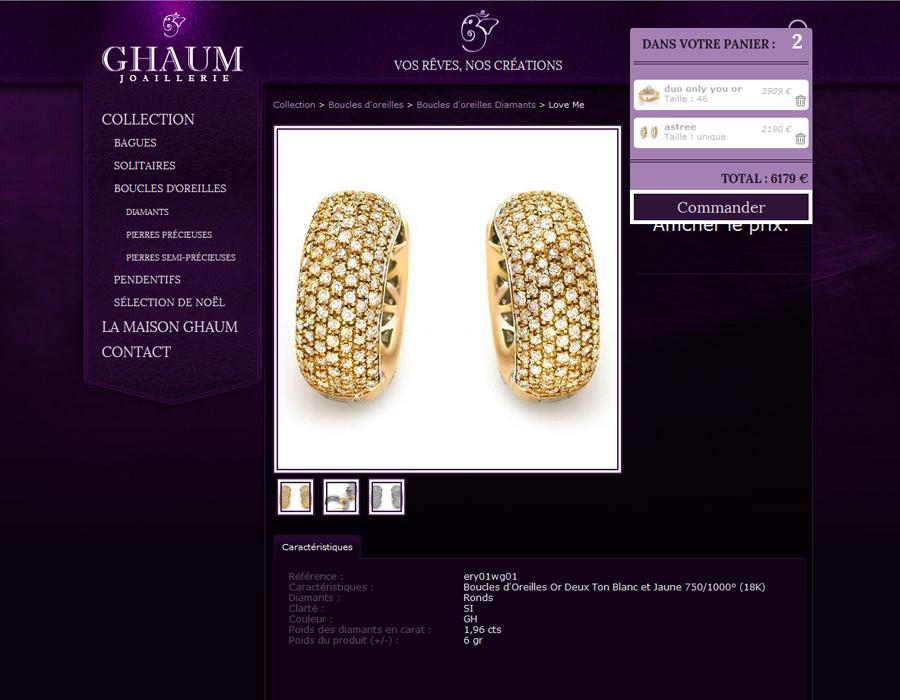 Site boutique Ghaum panier de commande