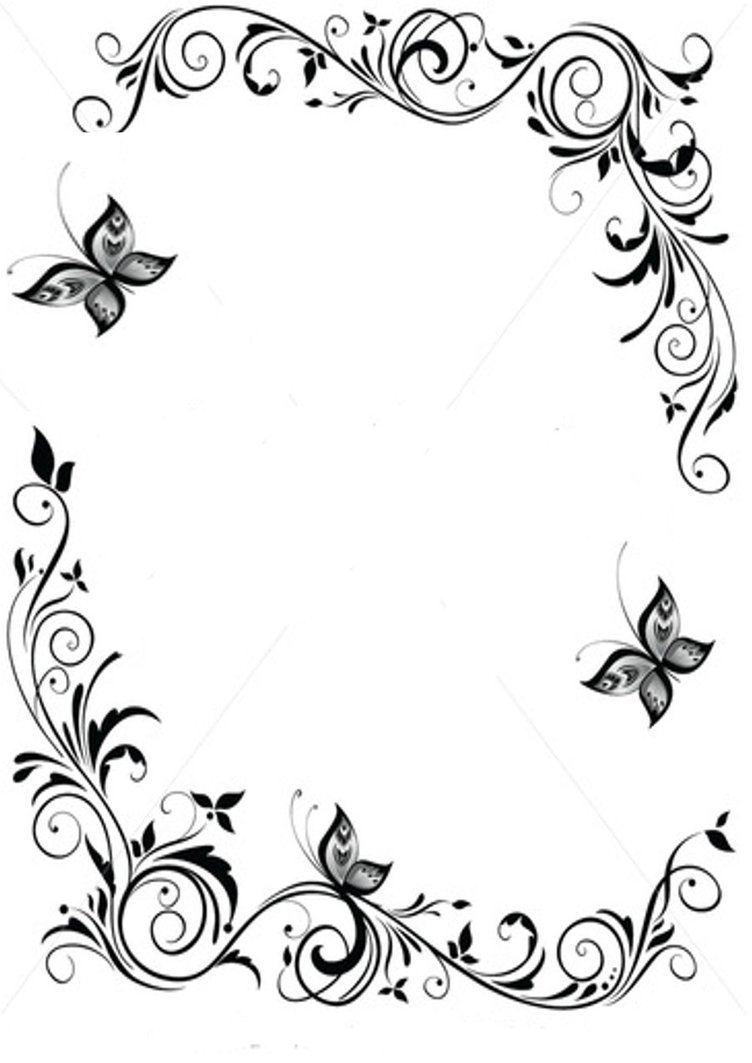 Frame, frame, frame border, frame border, vintage border, vintage border, modern border, modern border, border. Butterfly Border Designs Drawing Free Image Download