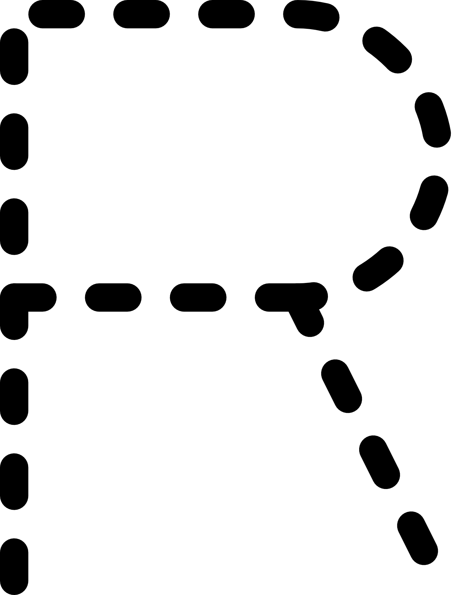 Dashed Line Of Alphabet Letter R Free Image