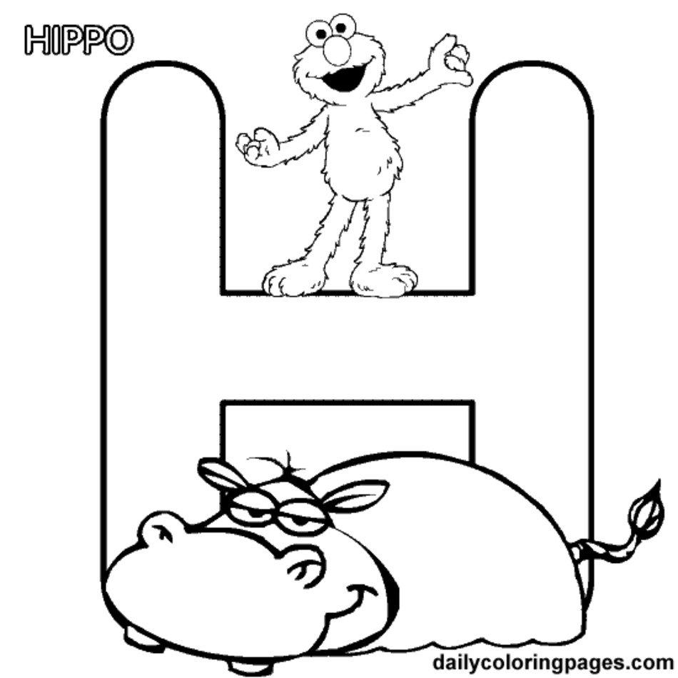 Alphabet Letter H Coloring Pages Free Image