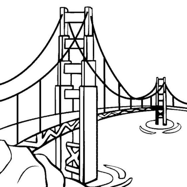 Golden Gate Bridge Coloring Page free image download