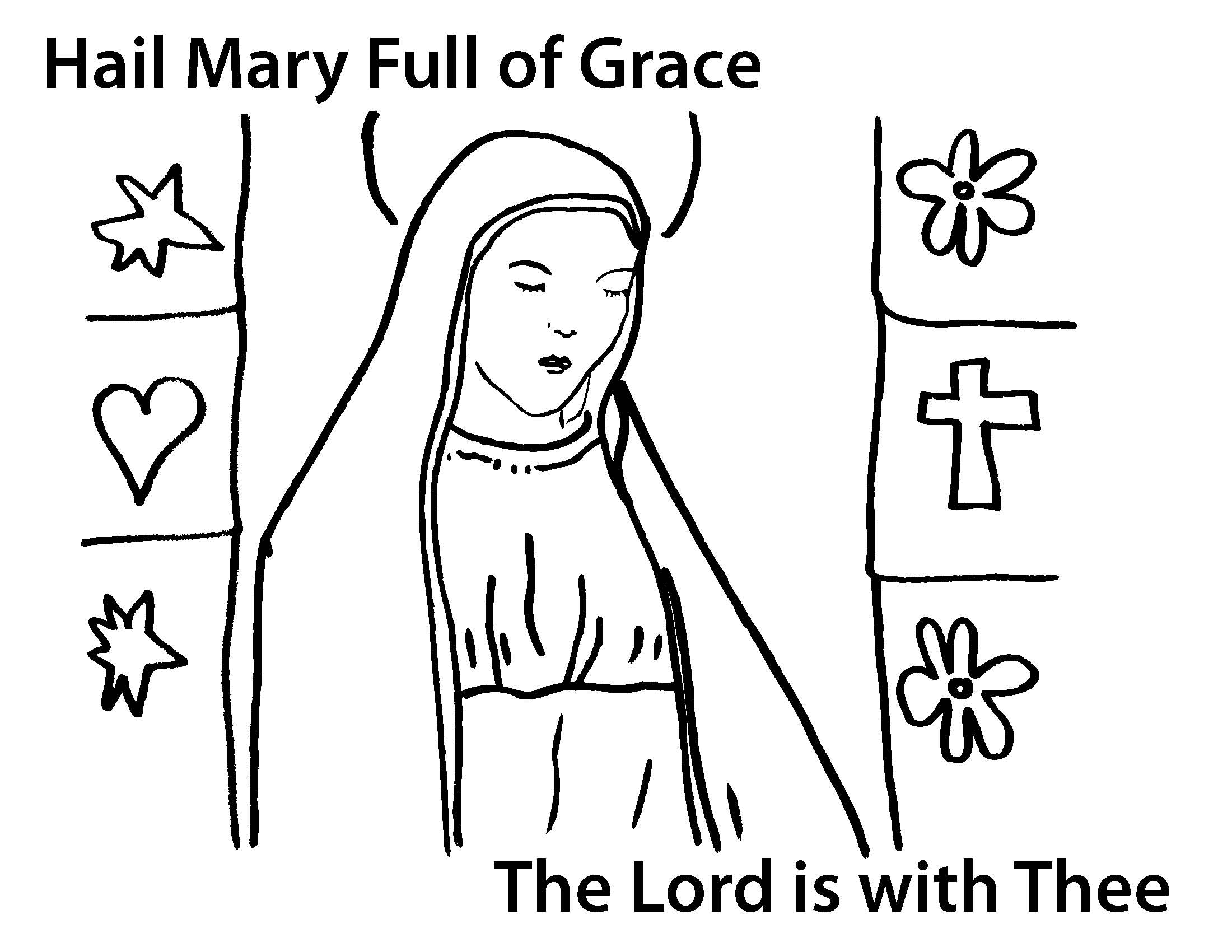 Mother Mary Coloring Page Drawing Free Image
