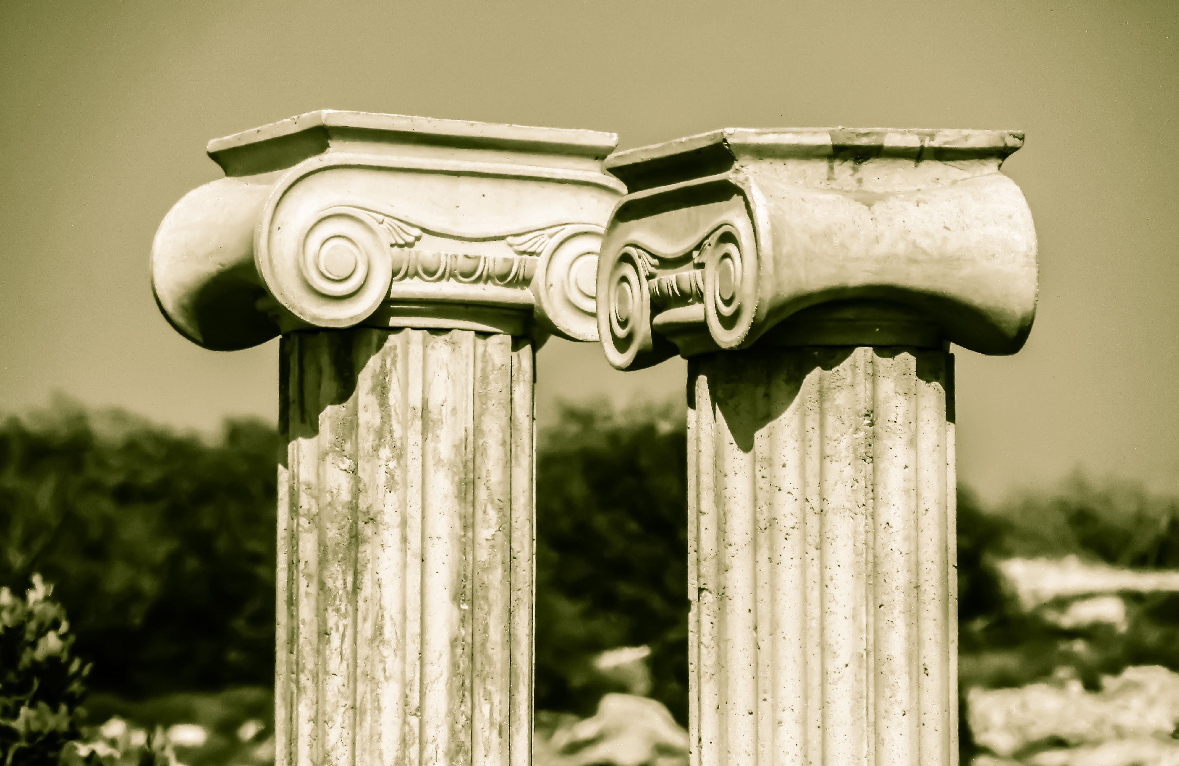 Old Photo Of Greek Columns Free Image