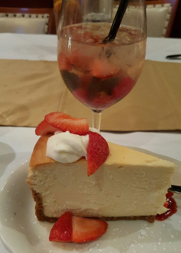 Moscato d'asti sangria and cheesecake!