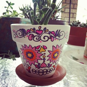 My first painted sugar skull pot