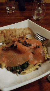 Salmon asiago penne pasta with caper sauce