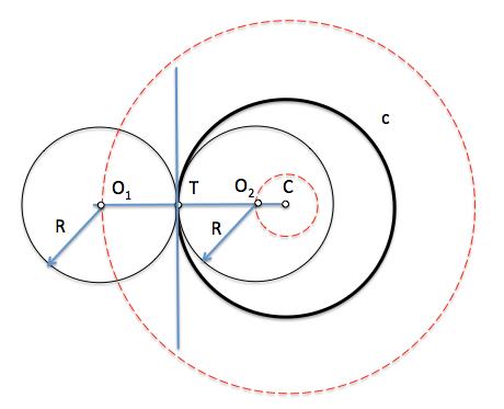Centros de circunferencias de radio dado tangentes a una circunferencia