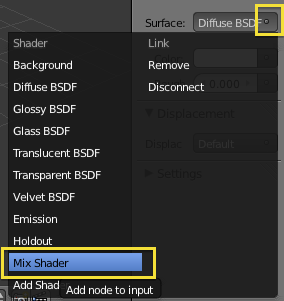 add Mix Shader