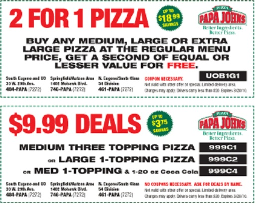 50 Off Papa John S Coupons 2013 Get Promo Code And Deals Small Dead Animals