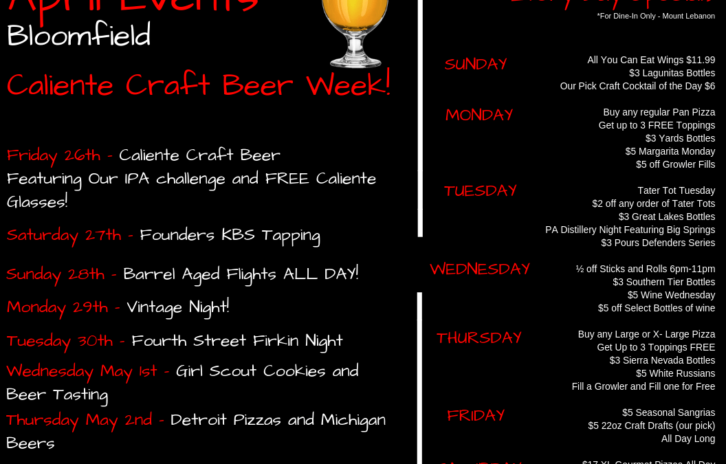 April Events 2019 Caliente Pizza Draft House