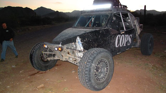 LEDs provide light for the prerunners during night practice. North of Loreto.