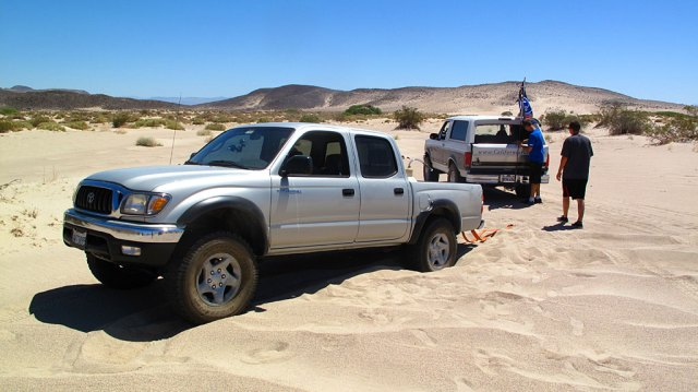 One of the Tacomas was two wheel drive and experienced problems in the soft sand, providing lots of amusement for the rest of us.
