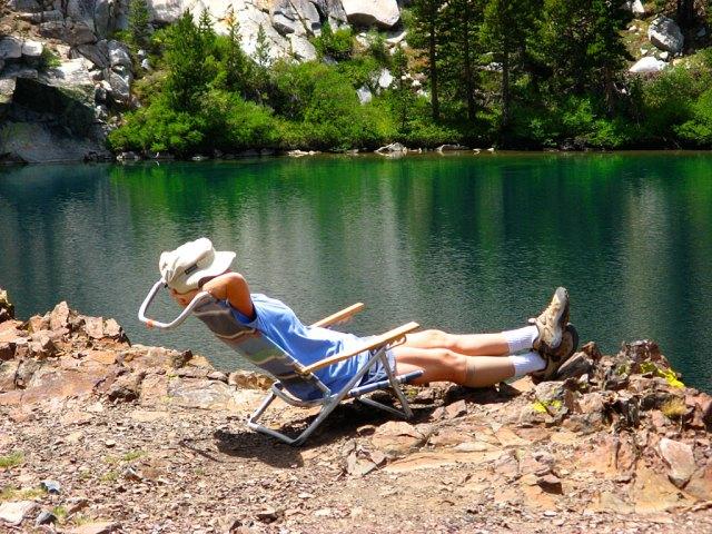 Relaxing at the upper Laurel Lake.