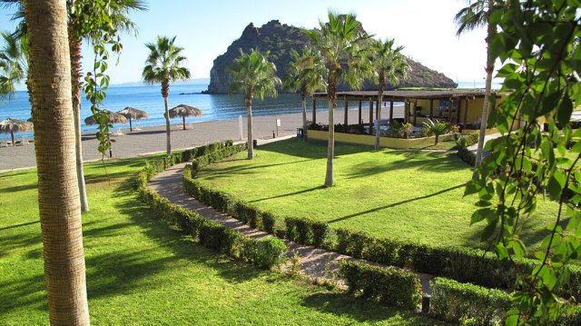 """The Sea of Cortez out the hotel window. We stayed in the (said condescendingly) """"golf course"""" section of town."""