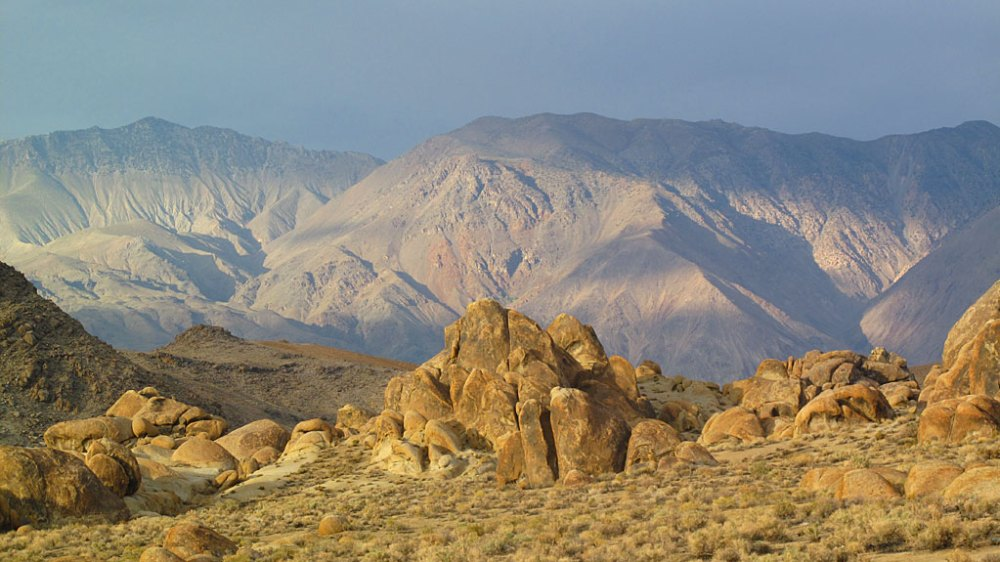The Inyo Mountains framed by the Alabama Hills.
