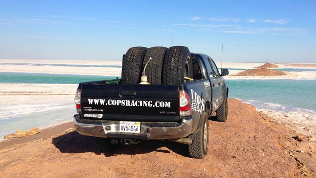 """Among other things, I took down three, 42"""" BGF Baja TA Trophy Truck tires to the race -- each wheel set clocks in at 160 pounds which makes it a challenge to lift."""