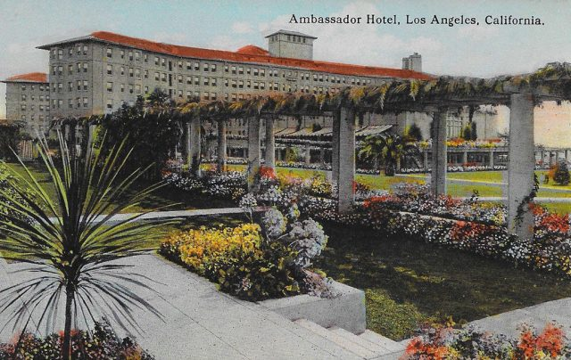 On front: Ambassador Hotel, Los Angeles, California.