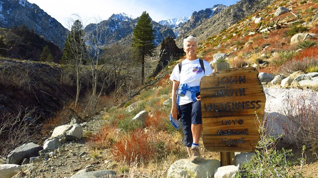 "Our traditional ""John Muir Wilderness sign photo"" while hiking up the Baxter Pass Trail."