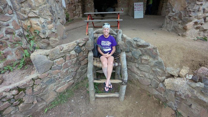 The over-sized comfy chair in front of the Castle greets visitors.