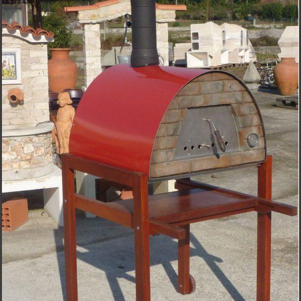 mobiler Holzbackofen Maximus rot mit Gestell 600x600 - Pizzaofen