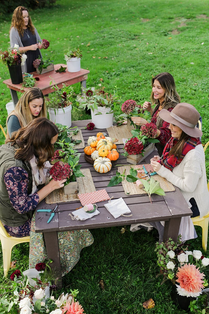 Gorgeous Fall Lunch Flower Arranging Party Pizzazzerie